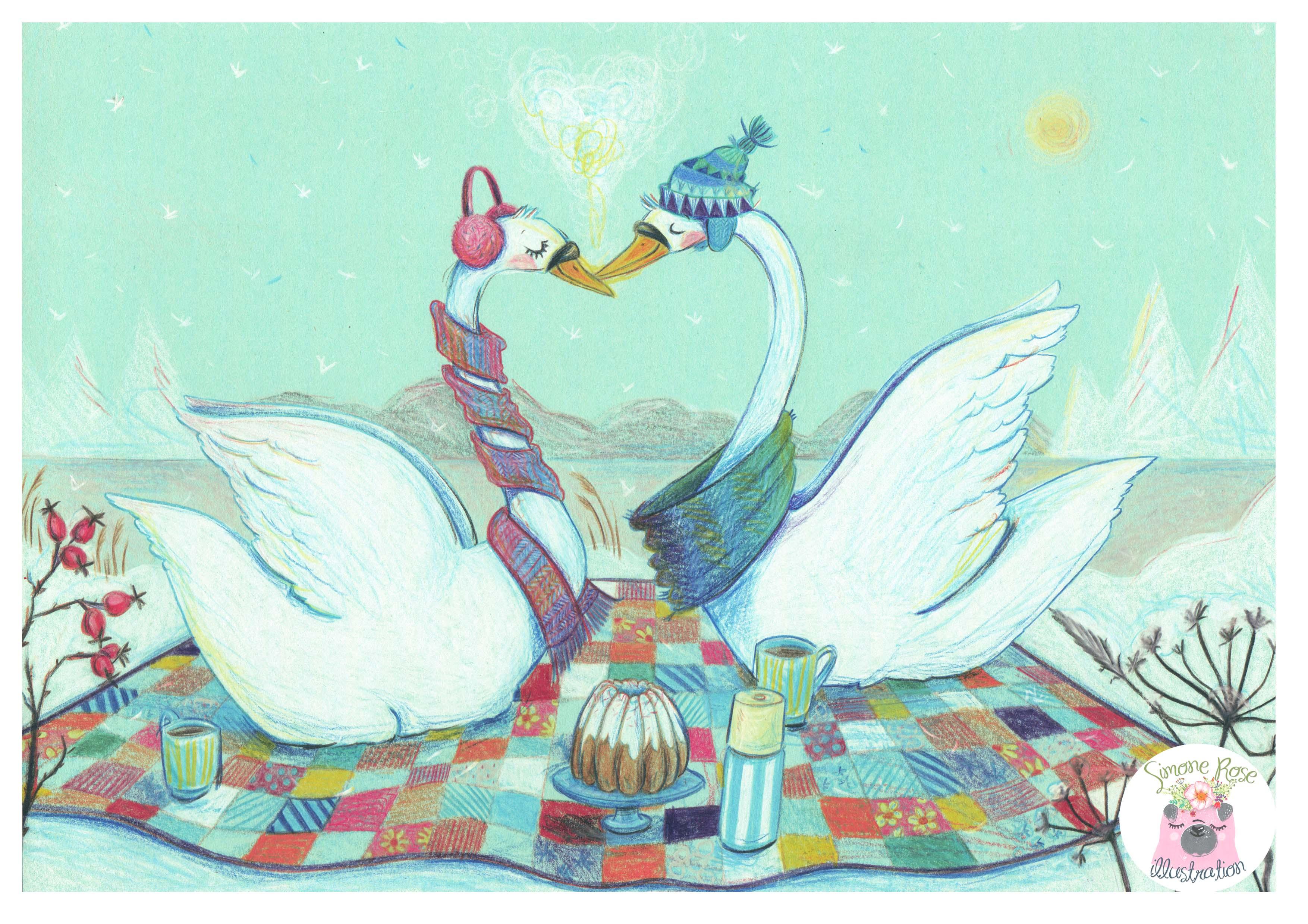 Aquarellbuntstift, Buntstiftillustration, Simone Rose Illustration, Kinderbuch, Kinder, Kinderbuchillustration, Illustratorin, Schwäne