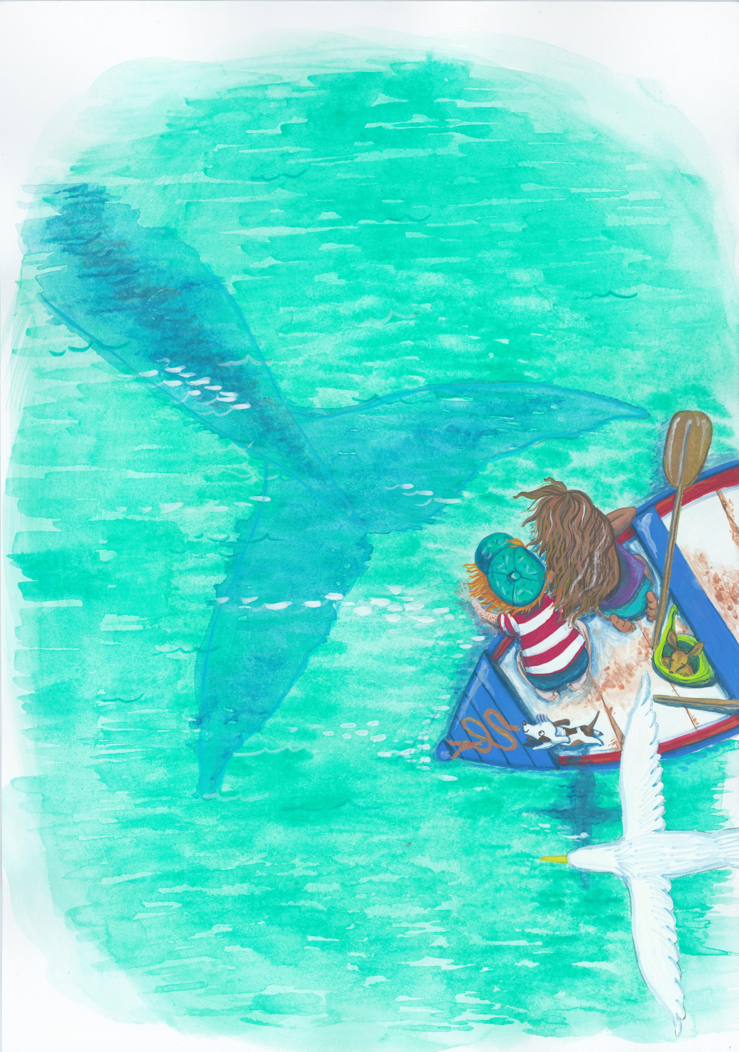 Gouache, Gouacheillustration, Simone Rose Illustration, Kinder, Kinderbuchillustration, Kinderbuch, Bilderbuch, Illustratorin, Australien, Aborigene, Wal, Meer