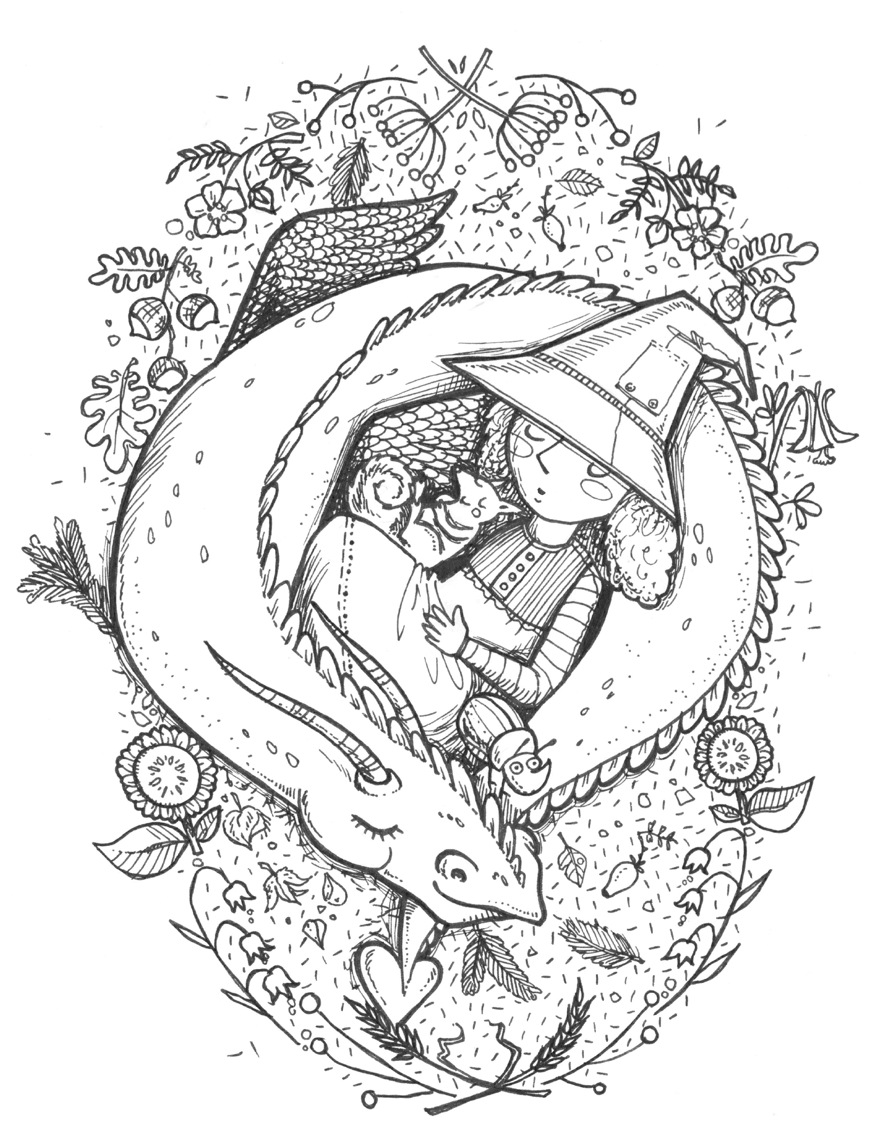 Tusche, Tuscheillustration, Simone Rose Illustration, Kinderbuch, Kinder, Kinderbuchillustration, Illustratorin, Hexe, Drache