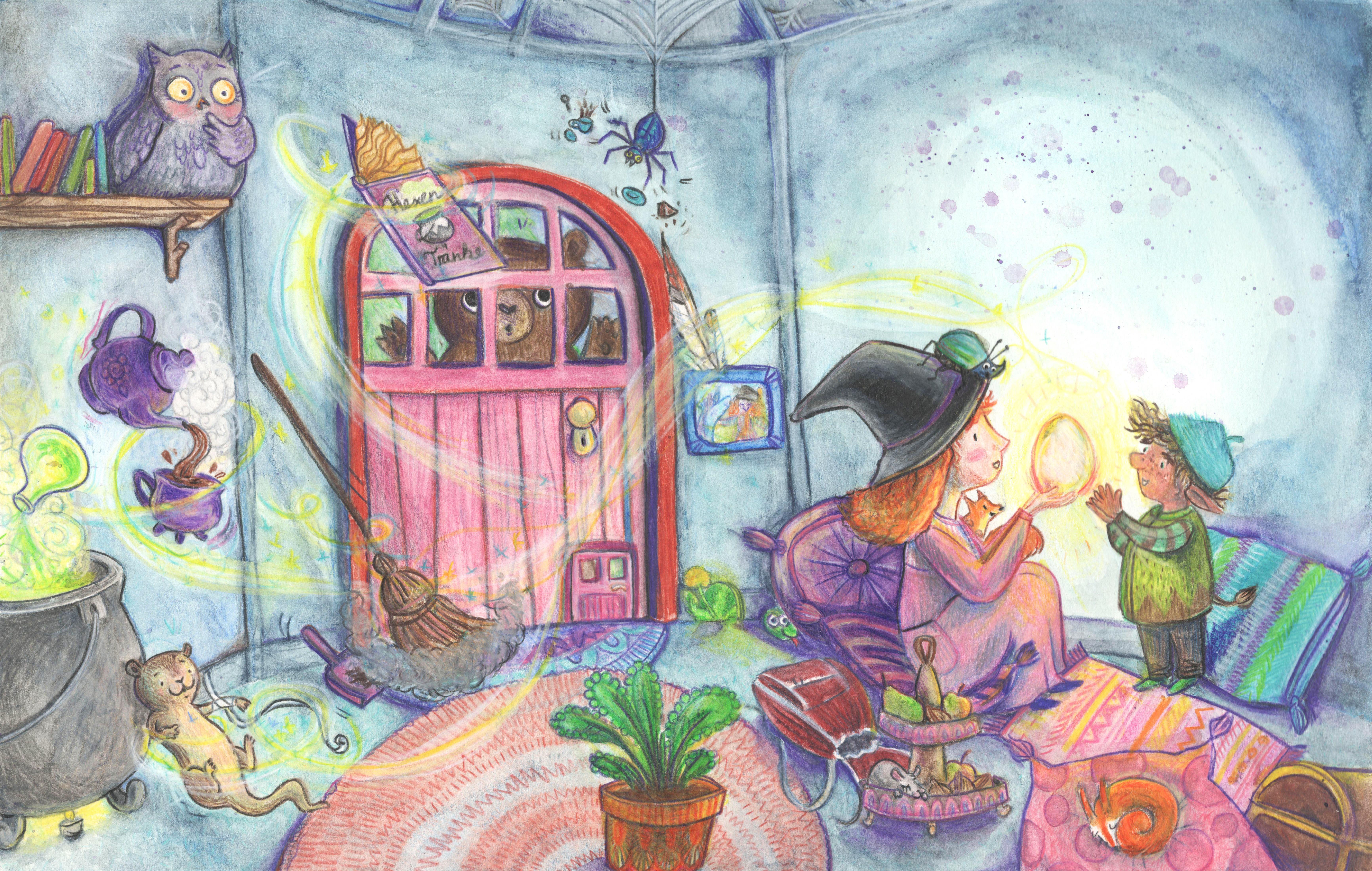 Aquarell, Aquarellillustration, Buntstiftillustration, Buntstift, Aquarellbuntstift , Simone Rose Illustration, Kinderbuch, Kinder, Kinderbuchillustration, Illustratorin, Hexenhaus