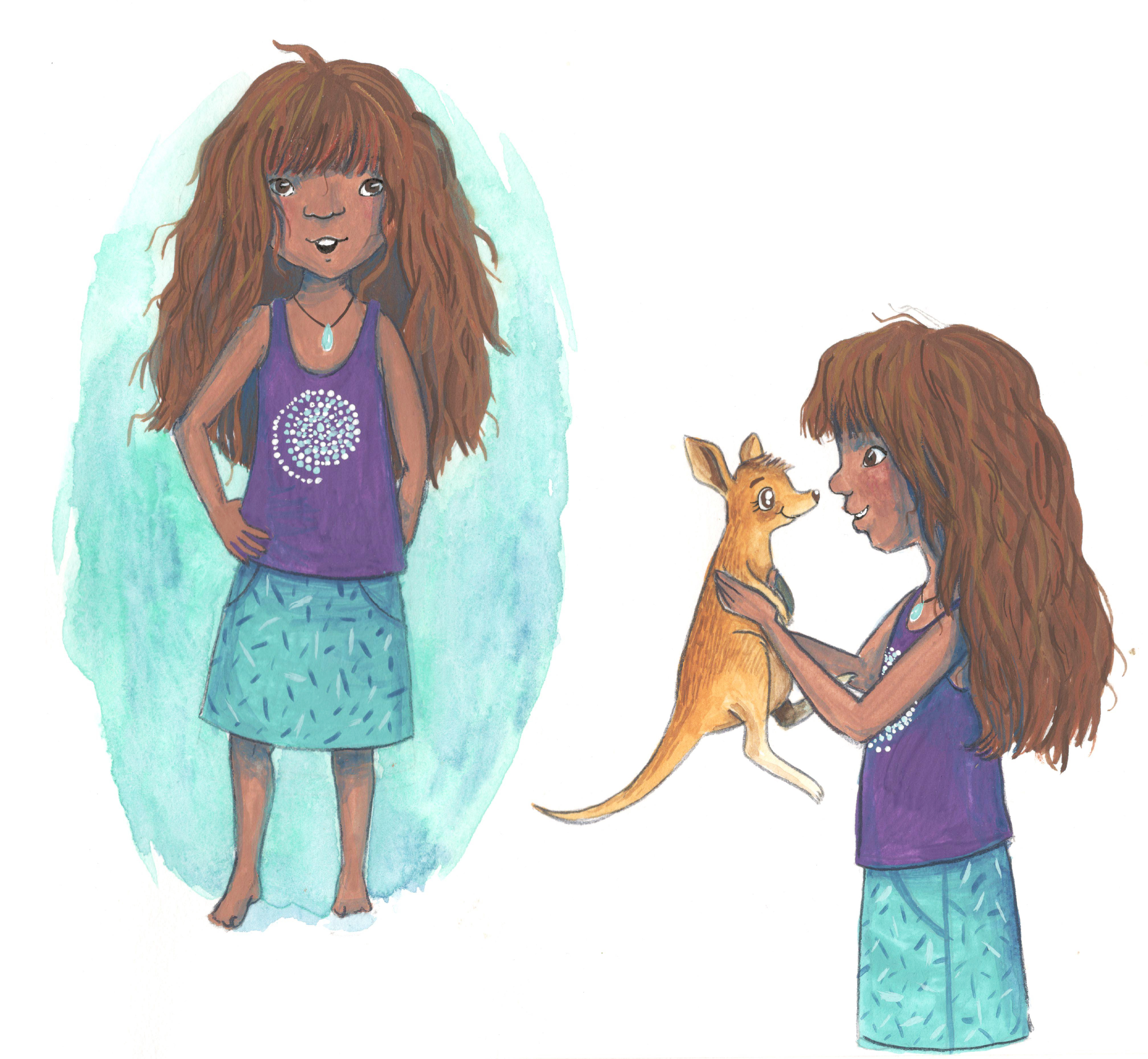 Gouache, Gouachelillustration, Simone Rose Illustration, Kinder, Kinderbuchillustration, Kinderbuch, Bilderbuch, Illustratorin, Australien, Aborigene, Känguruh